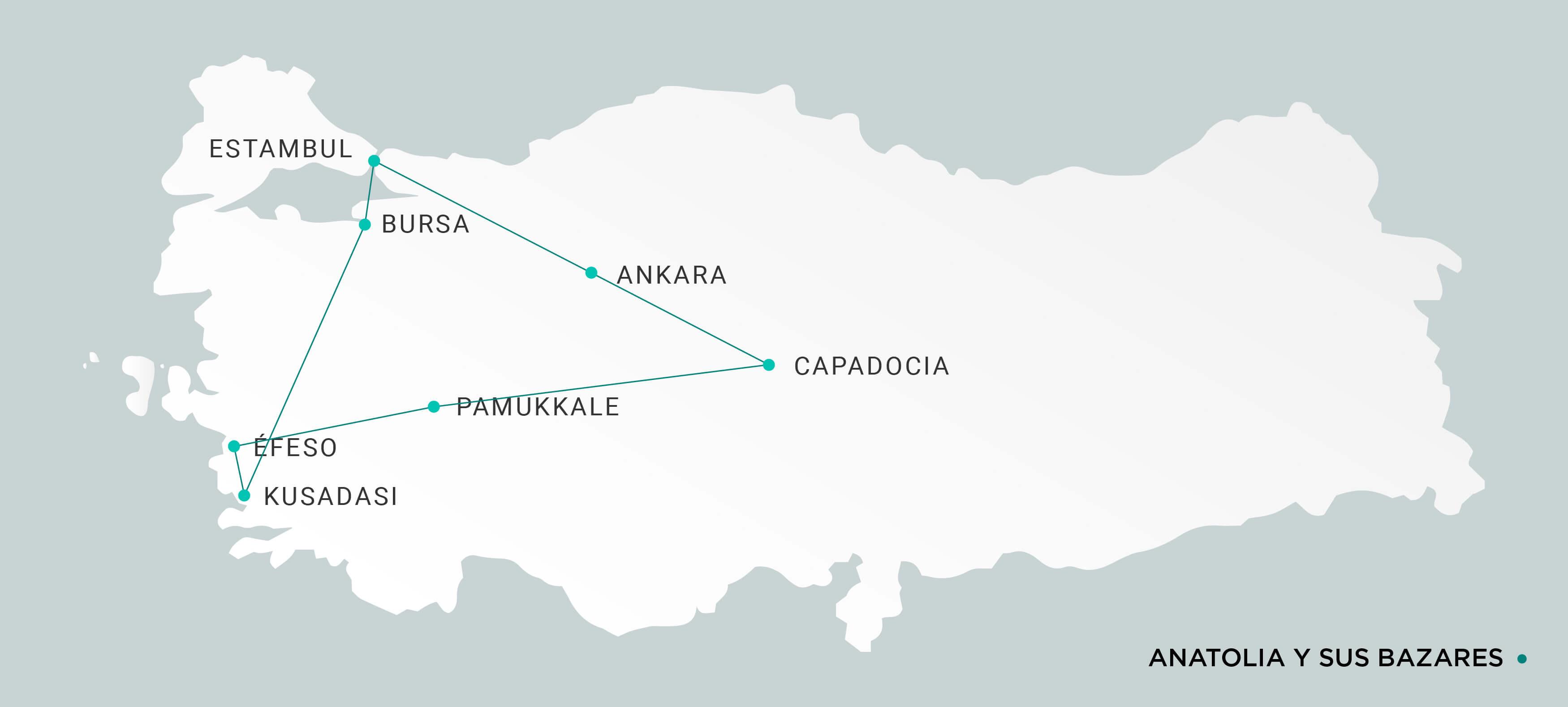 Mapa Anatolia y sus Bazares