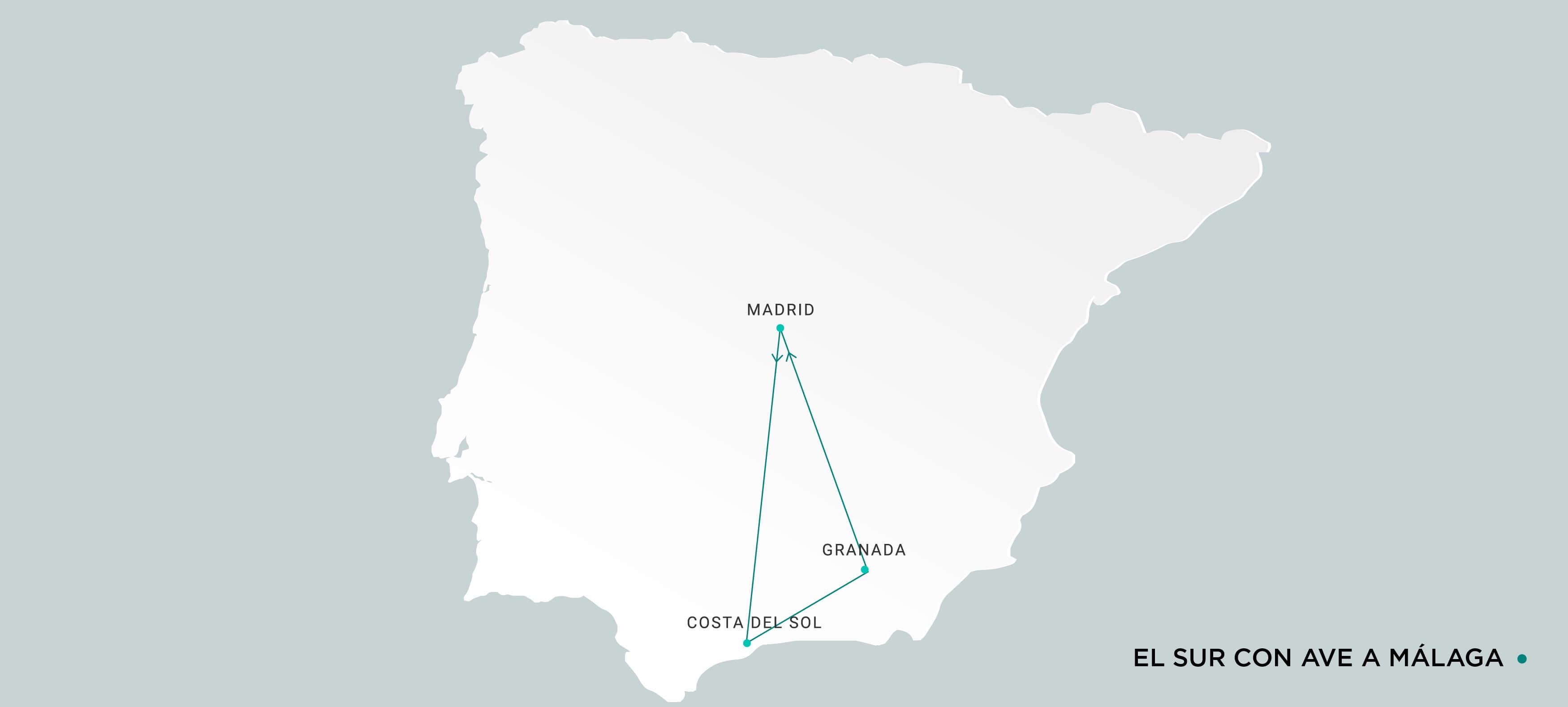 Mapa Sur con Ave a Málaga