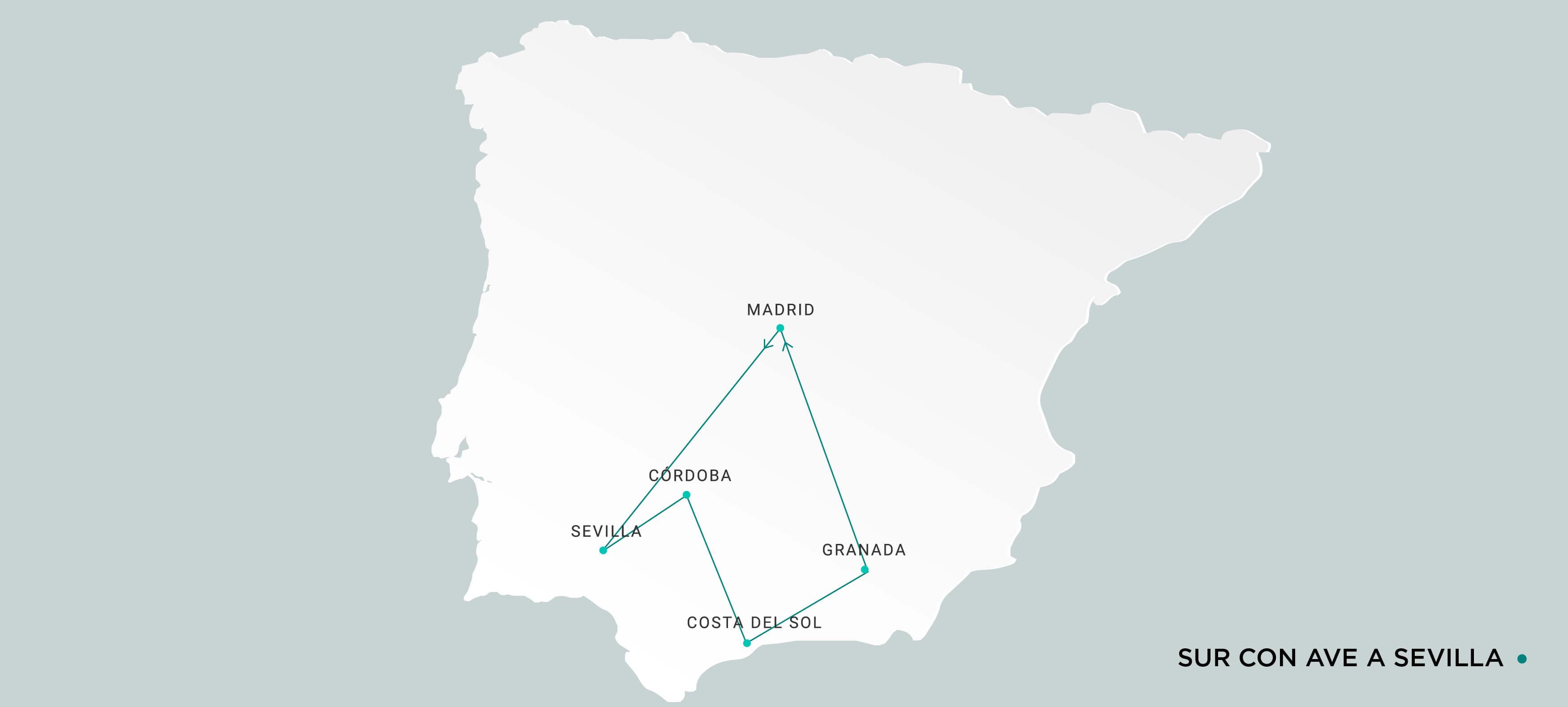 Mapa Sur con Ave a Sevilla