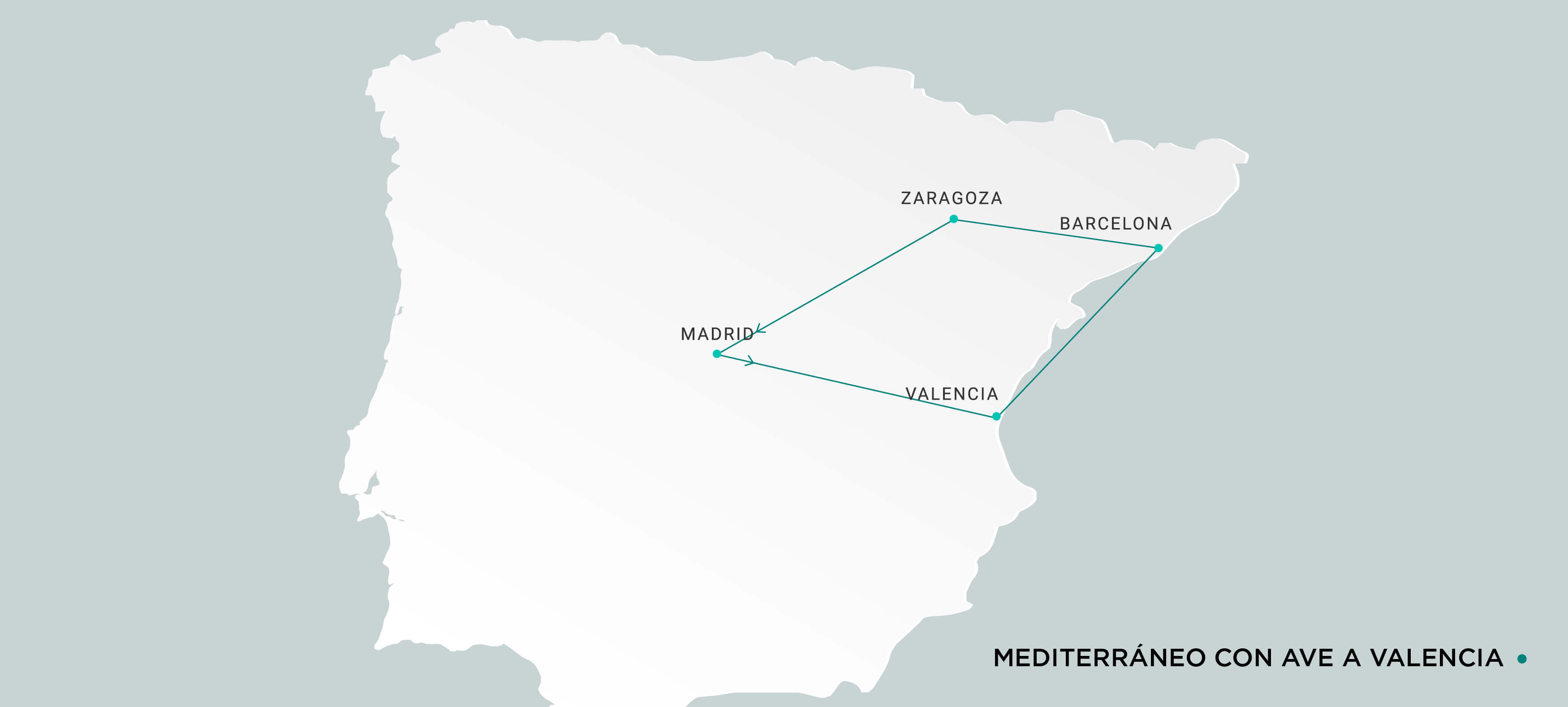 Mapa Mediterráneo con Ave a Valencia