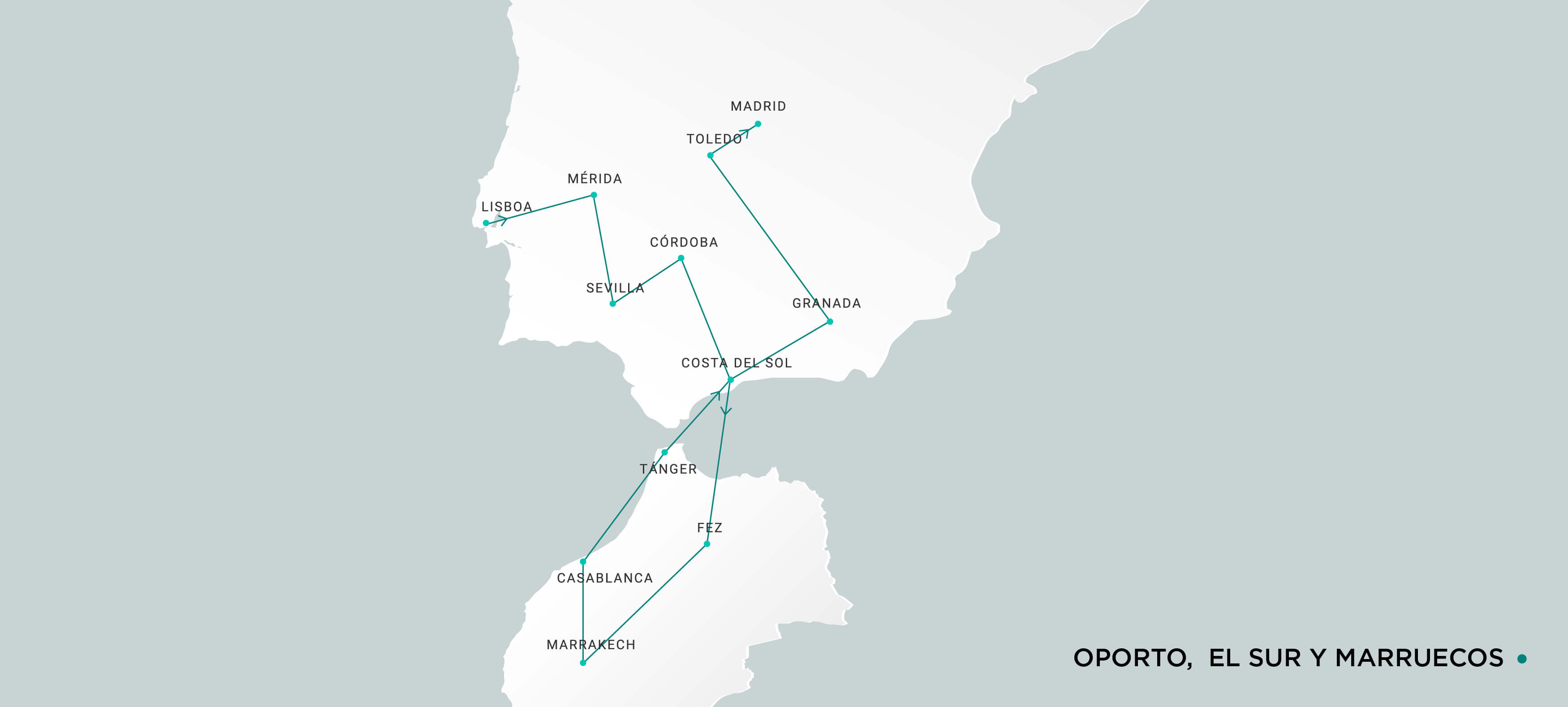 Mapa Lisboa, Sur y Marruecos