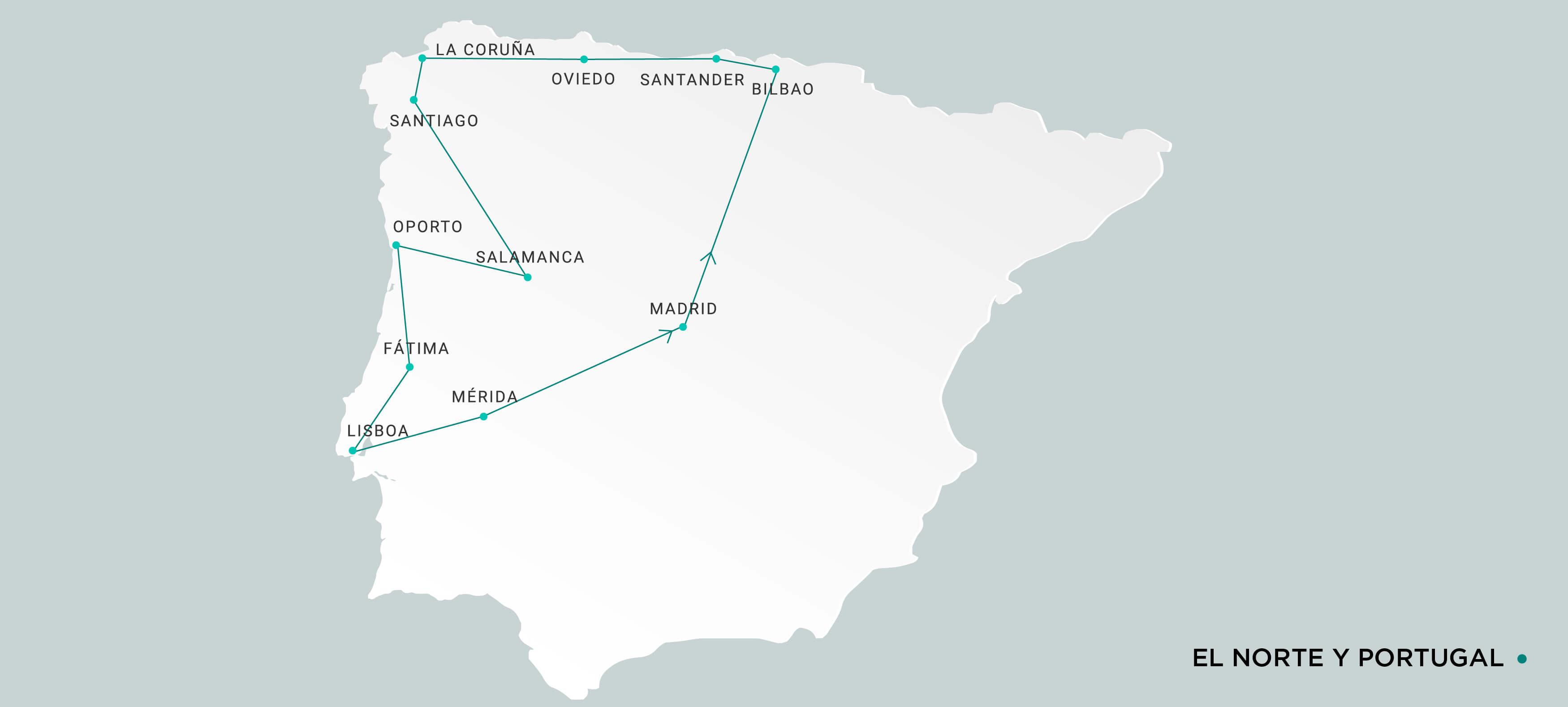 Mapa Norte y Portugal