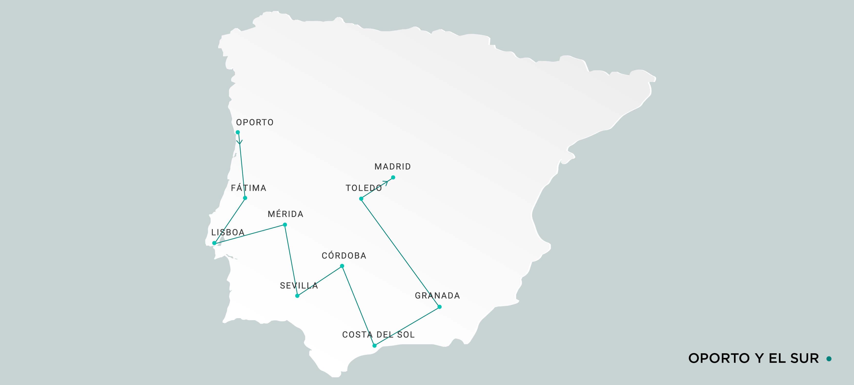 Mapa Oporto y Sur