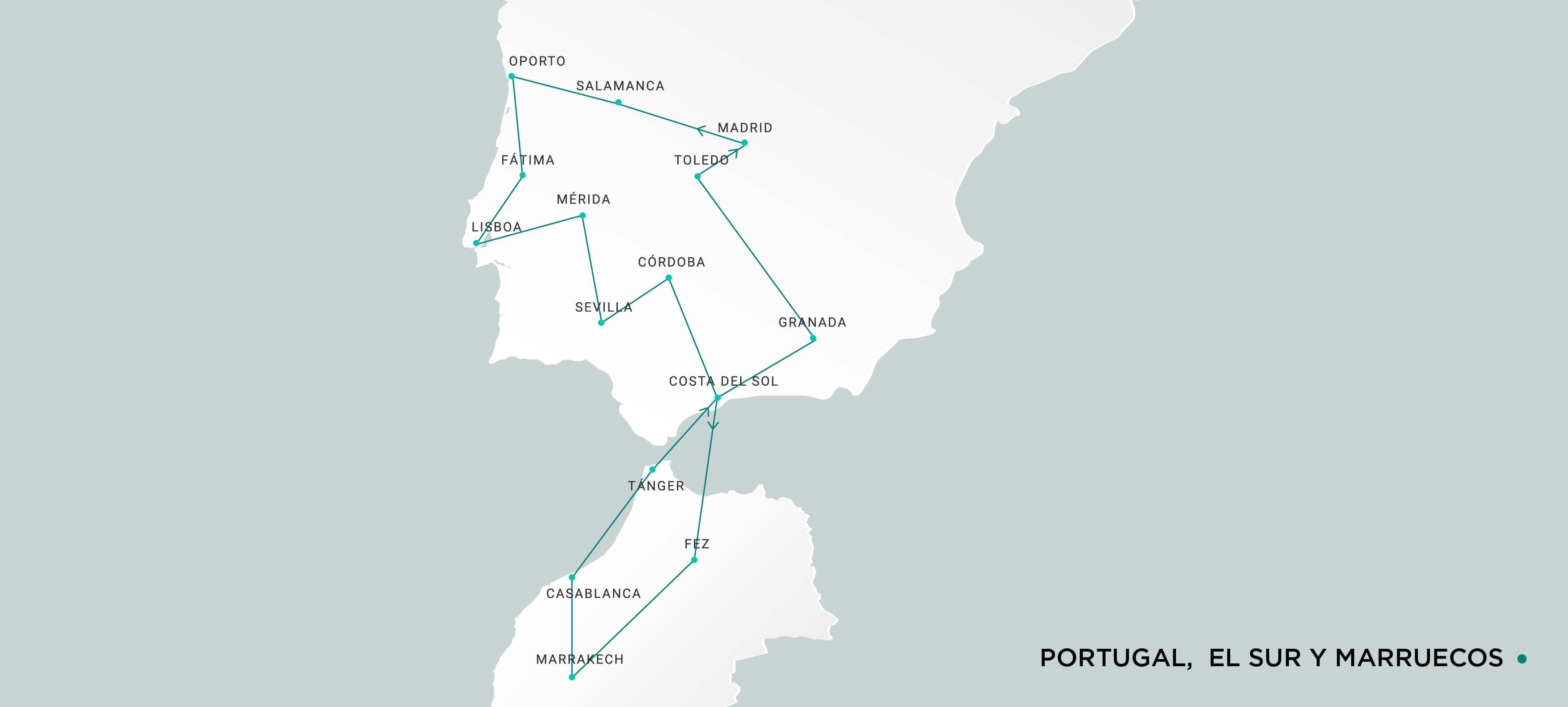 Mapa Portugal, el Sur y Marruecos
