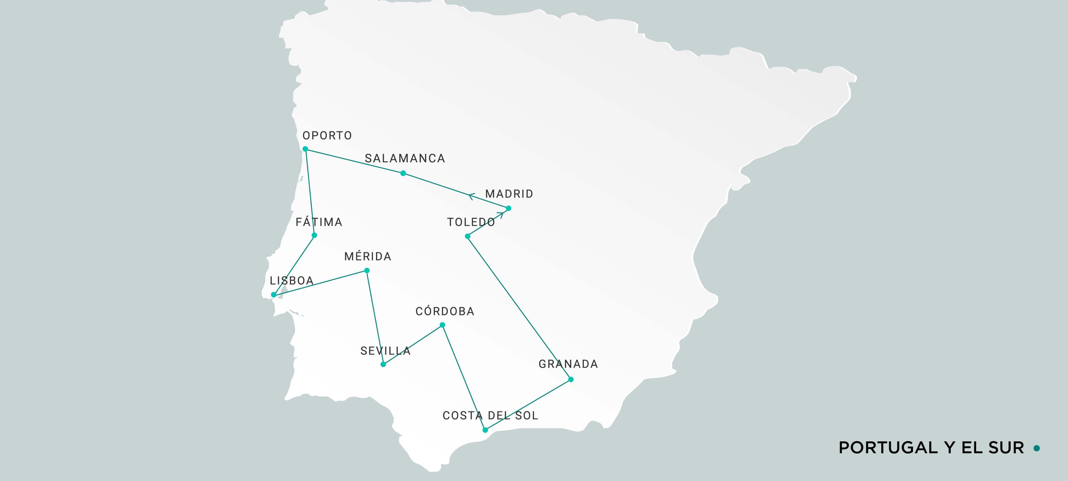 Mapa Portugal y el Sur