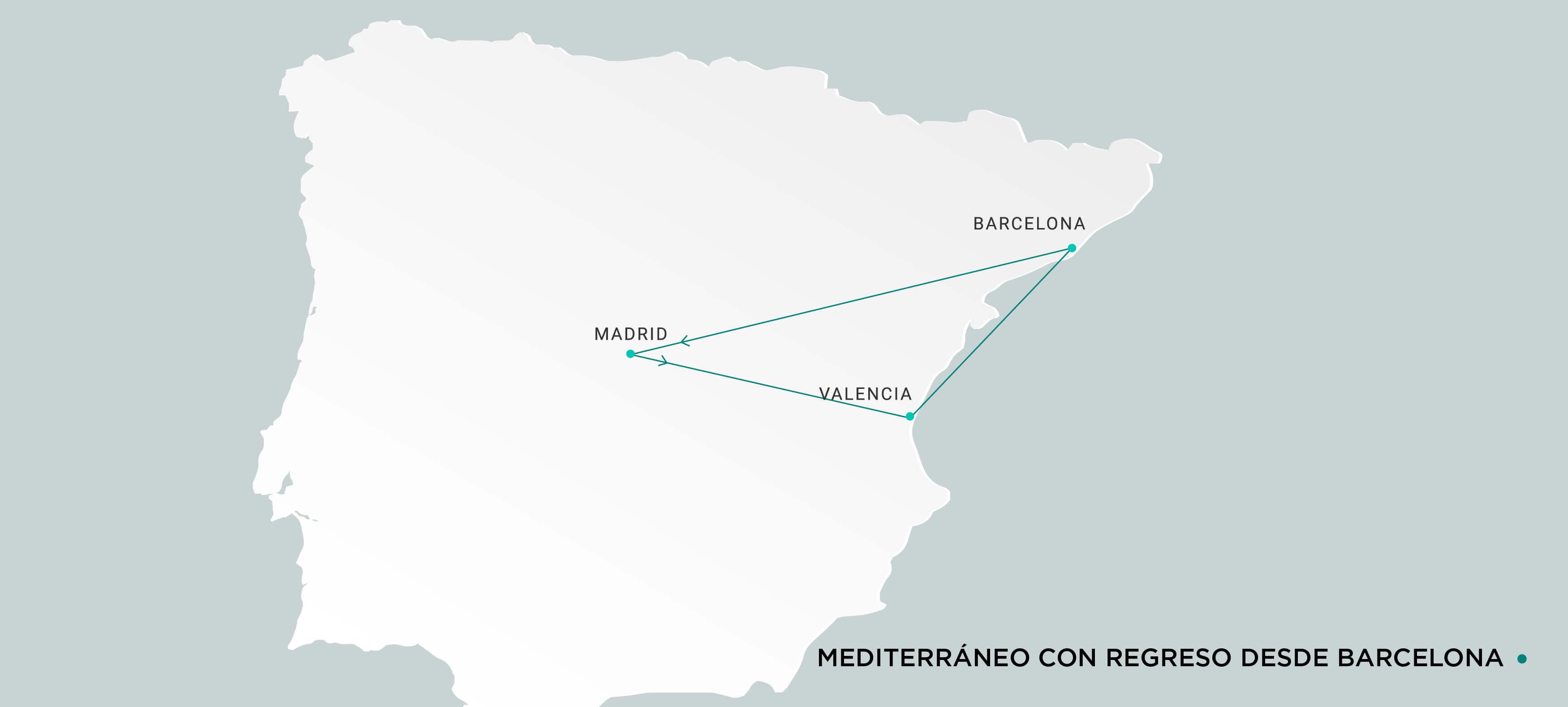 Mapa Mediterráneo con regreso desde Barcelona