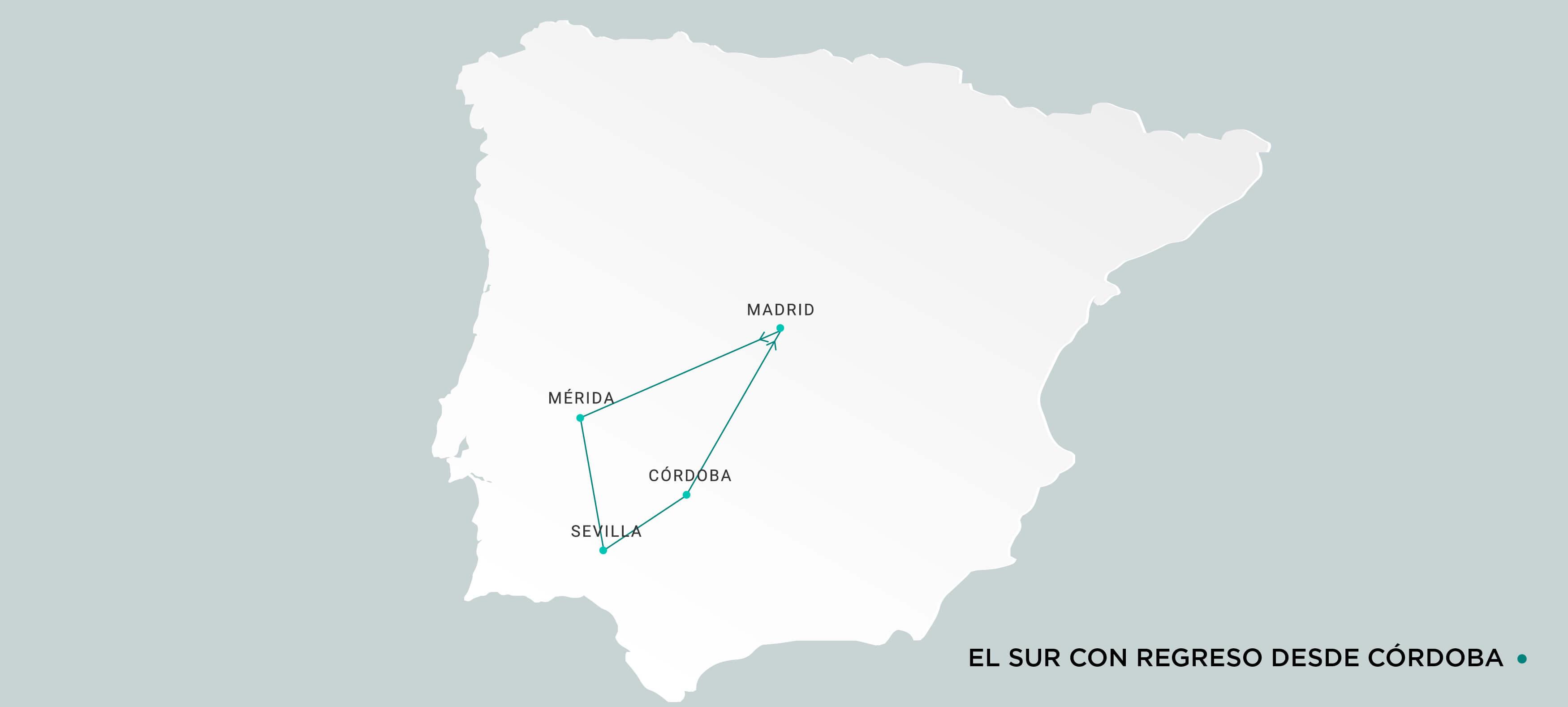 Mapa Sur con regreso desde Córdoba