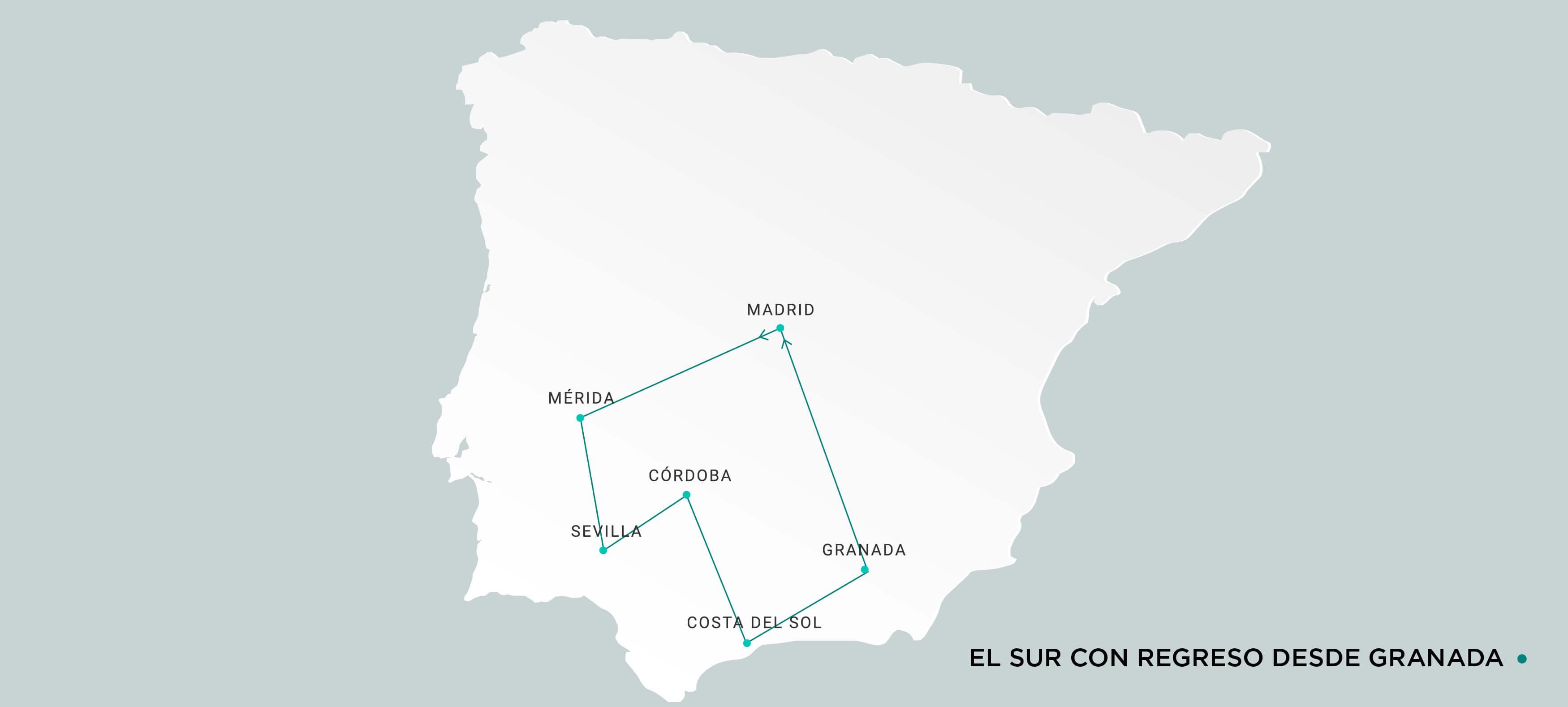Mapa Sur con regreso desde Granada